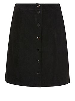 Leather a-line suede skirt