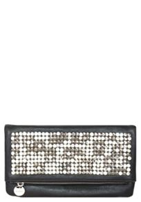 Faux leather embellished clutch