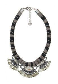 Plastic fan-embellished collar necklace