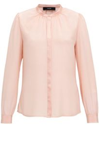 Hallhuber Silk Blouse With Satin Yoke