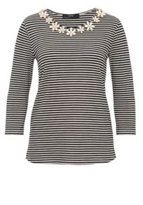 Hallhuber Stripe top with floral embellishments