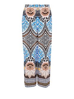 Straight-cut print trousers