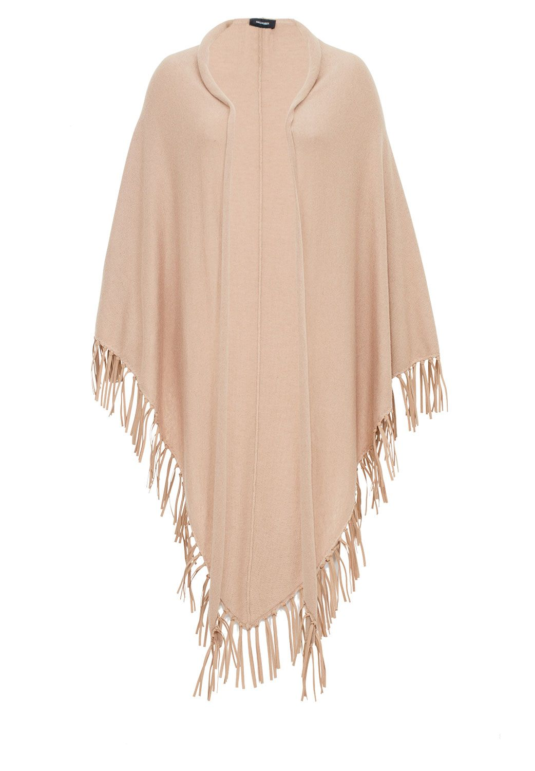 Hallhuber Knit Cape With Fringing Beige £69.00 AT vintagedancer.com
