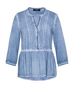 Ruffle blouse with cold-dye effect
