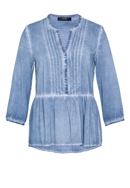 Hallhuber Ruffle blouse with cold-dye effect