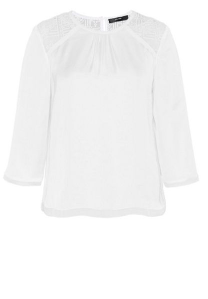 Hallhuber Blouse top with embroidered yoke