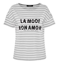 Striped top with sequin slogan