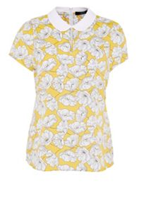 Hallhuber Floral print blouse with rounded collar
