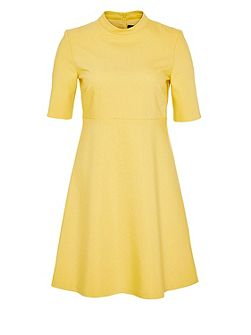 Stand-collar dress with midi sleeves