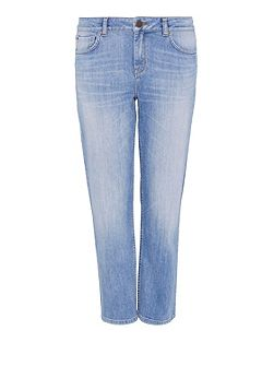 Straight leg jeans with fringed hem