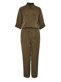 Jumpsuit with shirt collar