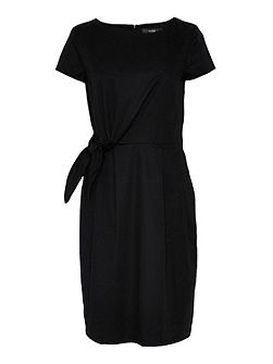 Wrap dress with tie-knot feature
