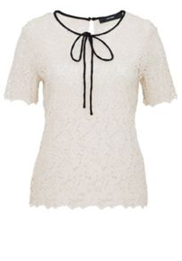 Hallhuber Lace top with self-tie ribbons