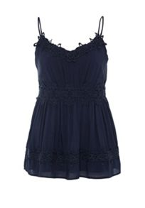 Hallhuber Spaghetti strap top with lace detailing