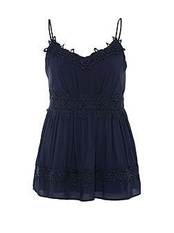 Spaghetti strap top with lace detailing
