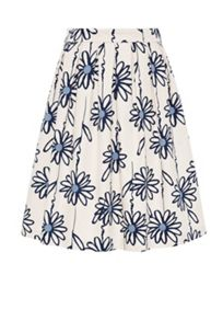 Hallhuber Pleated skirt with floral print