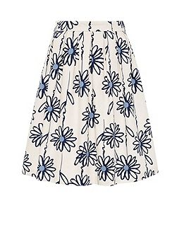 Pleated skirt with floral print