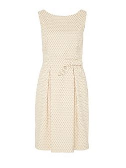 Polka dot strap dress with bow feature