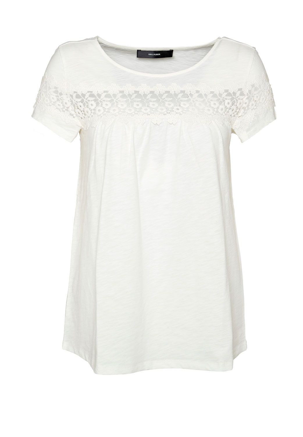 Hallhuber T-shirt with sheer lace insert, White