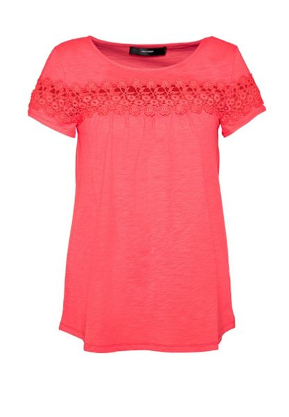 Hallhuber T-shirt with sheer lace insert