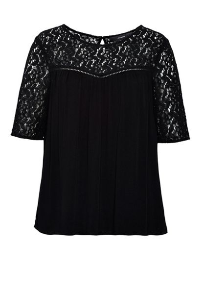 Hallhuber Top With Lace Yoke