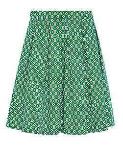 Box pleat skirt with minimal print