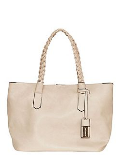 Shopper with braided top handles