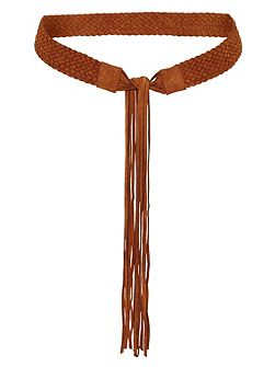 Braided leather belt with fringe