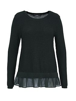 Boxy jumper with ruffle detail
