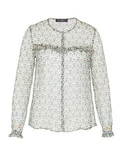 Sheer silk blouse with Lurex elements