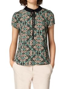 Hallhuber Round collar blouse with ribbon detail