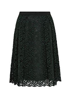 Lace skirt with grosgrain waist