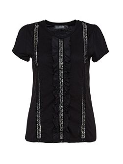 Top with silk ruffle detail