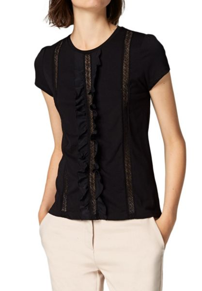 Hallhuber Top with silk ruffle detail