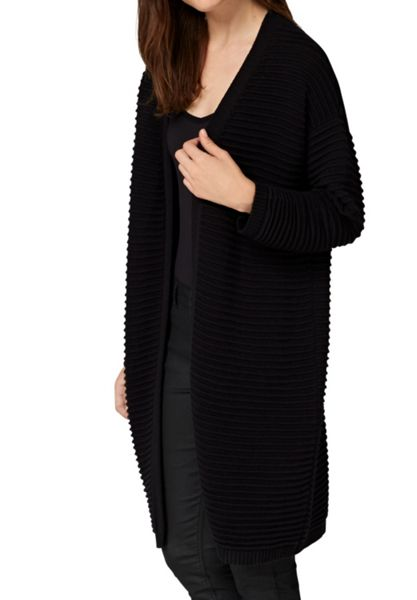 Hallhuber Long cardigan with prominent cross rib