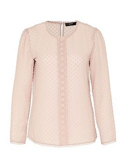 Blouse with embroidered polka dots