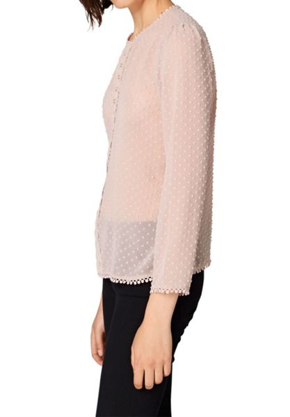 Hallhuber Blouse with embroidered polka dots