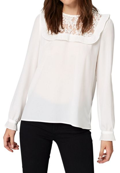 Hallhuber Lace and ruffle blouse