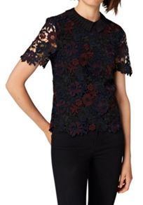 Hallhuber Lace top with pleated collar
