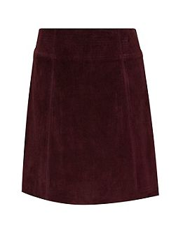 Gently flared suede skirt