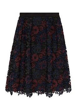 Multi-colour lace skirt