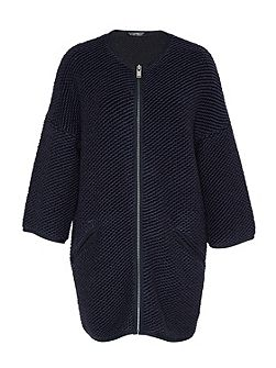 Knit coat with zipper detail