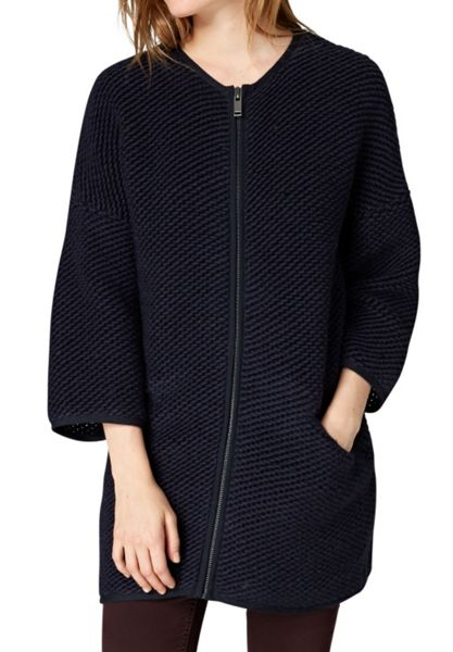 Hallhuber Knit Coat with Zipper Detail