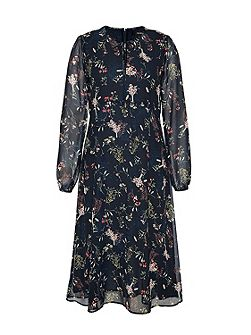 Midi dress with scattered floral print