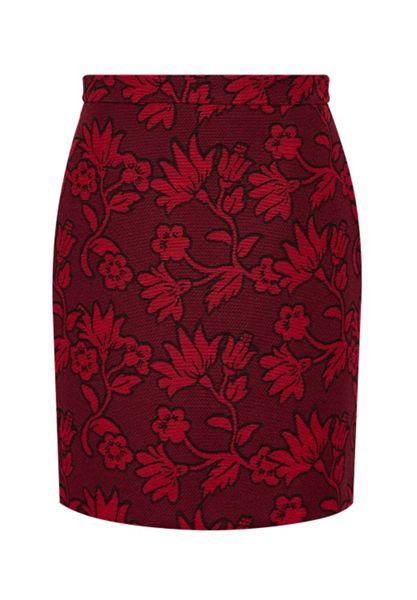 Hallhuber High waist skirt made of floral jacquard