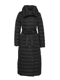 Maxi down coat with self-tie belt