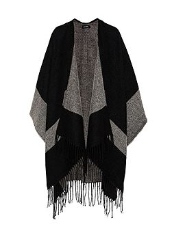 Graphic print fringe cape