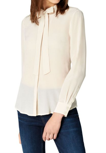 Hallhuber Self-tie blouse with rounded collar