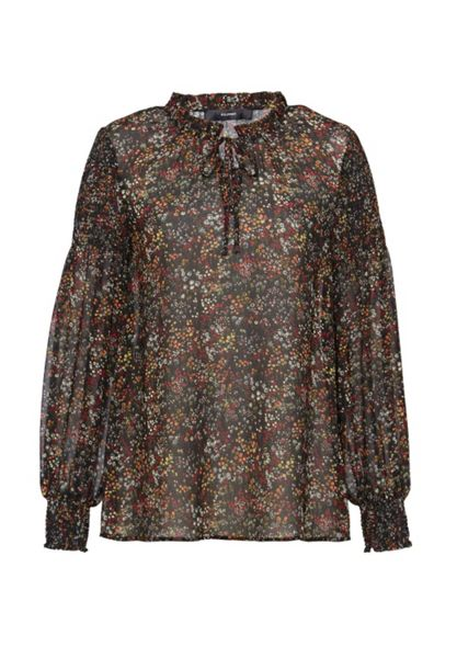 Hallhuber Smocked blouse with millefleurs print
