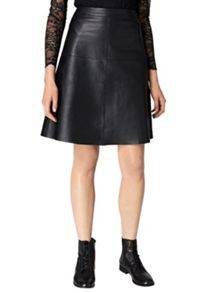 Hallhuber A-line skirt made of nappa leather